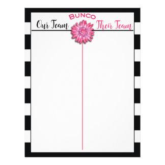Bunco Tally Score Sheet Black & White Pink Flower
