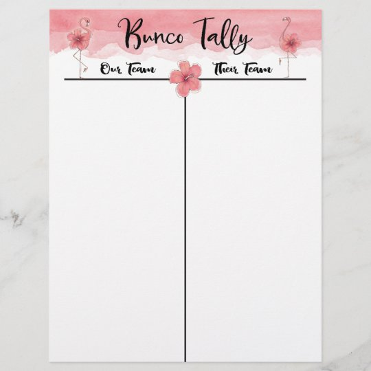 picture regarding Cute Bunco Score Sheets Printable called Bunco Tally Ranking Sheet Tropical Crimson Flamingo Exciting