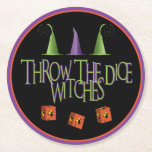 """Bunco Throw The Dice Round Paper Coaster<br><div class=""""desc"""">Throw The Dice Witches is perfect for your October Halloween themed Bunco party or fundraiser.  Fun design features three witches hats and three dice with a flying witch design.  Great coasters for your wine,  beer,  water,  soda,  punch and more.  Makes a fun gift or prize.</div>"""