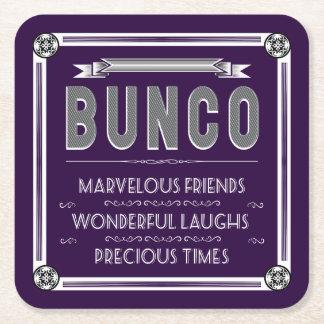 Bunco Vintage Typography Square Paper Coaster