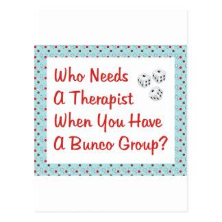 bunco who needs a therapist postcard