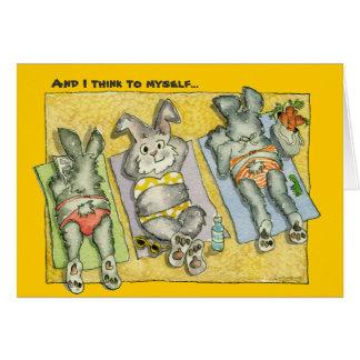 Bunderful World Beach Bunnies Cartoon Card