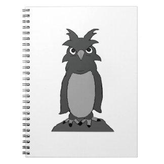 """Bundi"" the owl (in black and white) Note Books"
