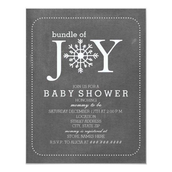 Bundle Of Joy Chalk Snowflake Winter Baby Shower Invitation