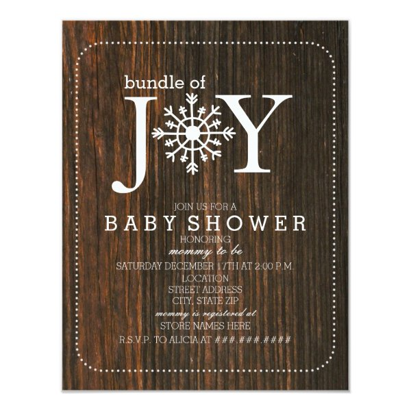Bundle Of Joy Chalk Snowflake Wood Baby Shower Invitation