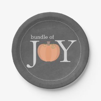 Bundle of Joy Chalkboard Pumpkin Fall Baby Shower Paper Plate