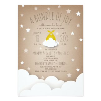 Bundle of Joy Clouds + Stars Baby Shower Card