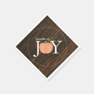 Bundle Of Joy Wood Inspired Pumpkin Baby Shower Paper Napkin