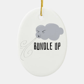 Bundle Up Double-Sided Oval Ceramic Christmas Ornament