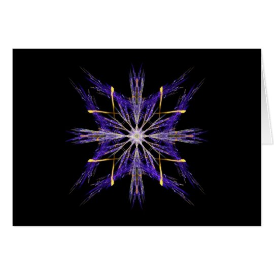 Bundled Blue Straw Fractal Art Star Card