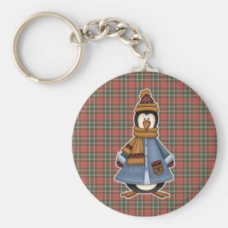 bundled up penguin basic round button keychain