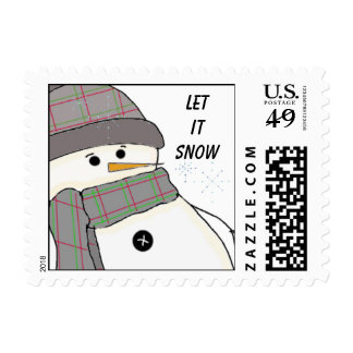 Bundled Up Snowman with Saying Postage