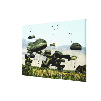 Bundles of food and water are air delivered canvas print