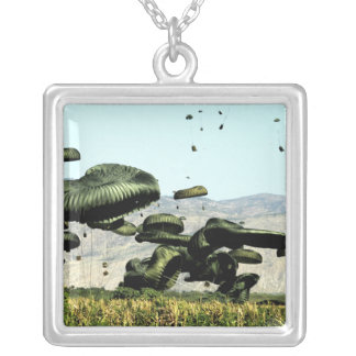 Bundles of food and water are air delivered square pendant necklace