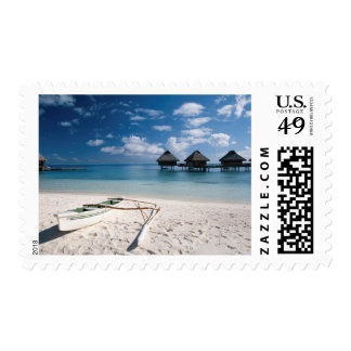 Bungalows from beach Motu Toopua Postage