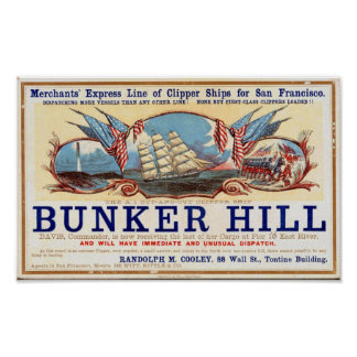 Bunker Hill Clipper Ships for San Francisco Poster