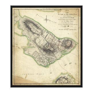 Bunker Hill Revolutionary War Map (June 17, 1775) Canvas Print