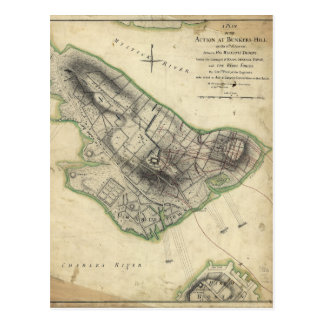 Bunker Hill Revolutionary War Map (June 17, 1775) Postcard