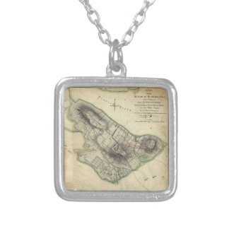Bunker Hill Revolutionary War Map (June 17, 1775) Silver Plated Necklace