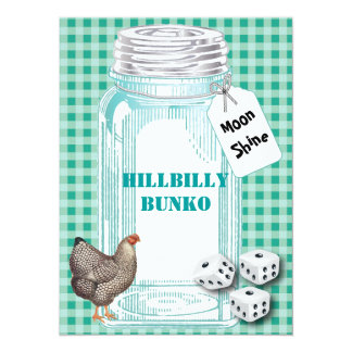 Bunko - Country Style or Hillbilly Style 5.5x7.5 Paper Invitation Card