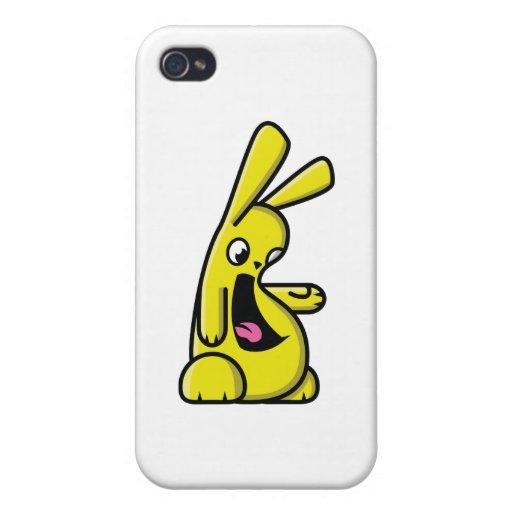 ¡Bunneh! - amarillo - correcto iPhone 4 Carcasas