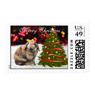 Bunnie rabbit cute snow tree custom Christmas Stamps