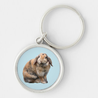 Bunnie rabbit lop-eared keychain, gift idea Silver-Colored round keychain