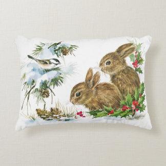 Bunnies and Bird Enjoy Christmas Snow Decorative Pillow