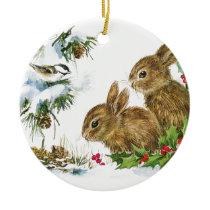Bunnies and Bird Enjoy Snow Ceramic Ornament