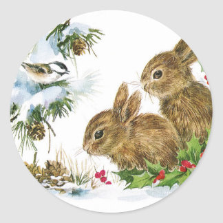 Bunnies and Bird Enjoy Snow Classic Round Sticker