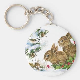 Bunnies and Bird Enjoy Snow Keychain