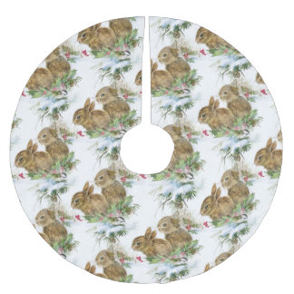 Bunnies and Bird in Snow Christmas Tree Skirt