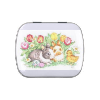Bunnies and Chick Jelly Belly Tin