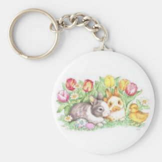 Bunnies and Chick Keychain