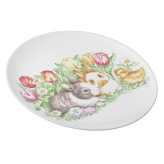 Bunnies and Chick Melamine Plate