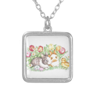 Bunnies and Chick Silver Plated Necklace