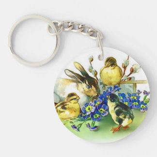 Bunnies and Chicks Vintage Easter Picture Keychain