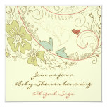 "Bunnies and Flowers Neutral Baby Shower Invite 5.25"" Square Invitation Card"
