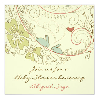 """Bunnies and Flowers Neutral Baby Shower Invite 5.25"""" Square Invitation Card"""