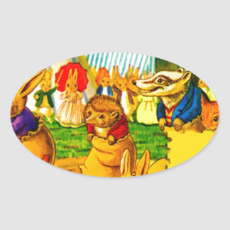Bunnies and Hedgehogs Oval Sticker