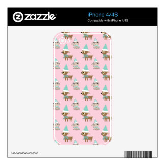 Bunnies and Reindeer over Pale Pink Holiday Art Decals For iPhone 4S