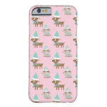 Bunnies and Reindeer over Pale Pink Holiday Art iPhone 6 Case