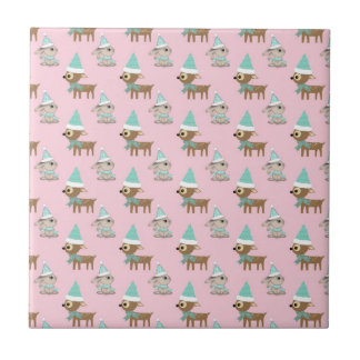 Bunnies and Reindeer over Pale Pink Holiday Art Tile