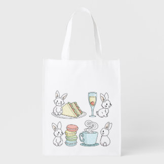 Bunnies at Afternoon Tea Grocery Bag