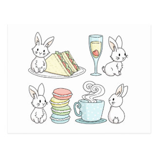 Bunnies at Afternoon Tea Postcard