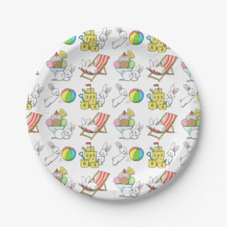Bunnies at the Beach Paper Plate
