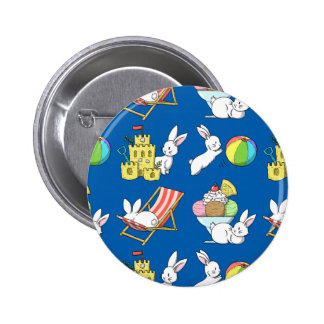 Bunnies at the Beach Pinback Button