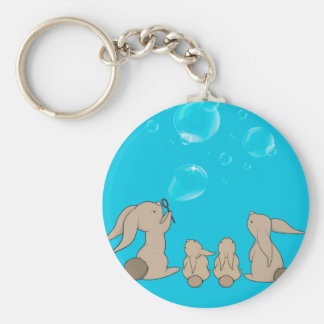 Bunnies blowing bobbles keychain