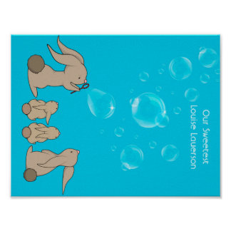 Bunnies blowing bobbles poster