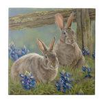 Bunnies & Bluebonnets Ceramic Tile